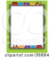 Clipart Illustration Of A Green Border With Colorful Train Box Cars On A Track Bordering A White Background