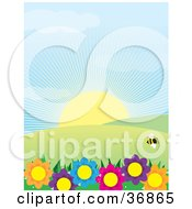 Single Bee Flying Above Colorful Flowers With Hills And Sunshine On A Spring Day