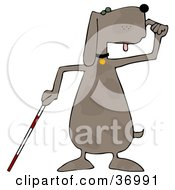 Clipart Illustration Of A Blind Dog Using A White Cane