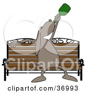 Clipart Illustration Of A Drunk Dog Chugging Liquor On A Park Bench