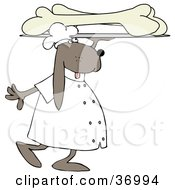Clipart Illustration Of A Dog Carrying A Platter Of Oversized Dog Bones