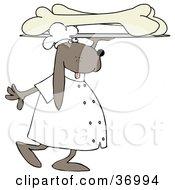 Dog Carrying A Platter Of Oversized Dog Bones