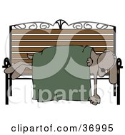 Clipart Illustration Of A Homeless Dog Sleeping With A Blanket On A Bench