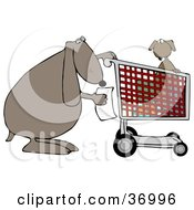 Clipart Illustration Of A Dog Reading A Shopping List With Its Pup In A Cart