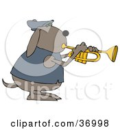 Musical Dog In A Jacket Playing A Trumpet
