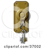Clipart Illustration Of A Skeleton Key On A Ring Inserted In A Keyhole
