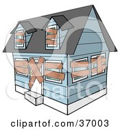 Clipart Illustration Of A Blue Foreclosed Home With Boarded Up Windows And Doors