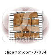 Clipart Illustration Of A Boarded Up Window And Shutters Of A Foreclosed Brick Home