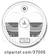 Clipart Illustration Of A Test Button And Speakers On A Smoke Alarm