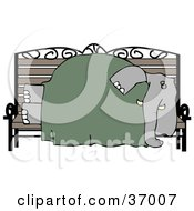 Clipart Illustration Of A Homeless Elephant Sleeping On A Bench