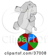 Clipart Illustration Of A Circus Elephant Walking On A Ball