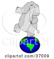 Clipart Illustration Of A Gray Elephant Balancing On Earth by Dennis Cox