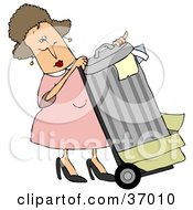 Clipart Illustration Of A Woman In Pink Rolling Trash Out To The Curb