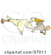 Clipart Illustration Of A Baby Hanging Out Of A Cloth In A Storks Beak by Dennis Cox