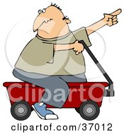 Clipart Illustration Of A Man Pointing And Riding On A Red Wagon