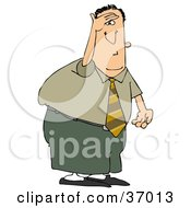 Clipart Illustration Of A Weary Man Keeping A Look Out