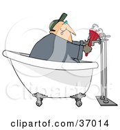 Clipart Illustration Of A Male Plumber In A Claw Foot Tub Installing Pipes by djart