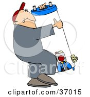 Clipart Illustration Of A Man Carrying A Heavy Water Heater