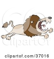 Clipart Illustration Of A Pissed Lion Leaping