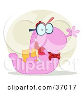 Clipart Illustration Of A Friendly Purple School Worm Student Waving And Carrying A Book With A Tan Circle And Shadow by Hit Toon