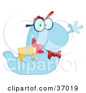 Clipart Illustration Of A Waving Blue Worm Student Carrying A Book