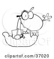 Clipart Illustration Of A Black And White Outline Of A Waving School Worm Student Carrying A Book by Hit Toon