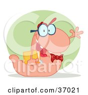 Clipart Illustration Of A Friendly Pink School Worm Student Waving And Carrying A Book With A Green Circle And Shadow