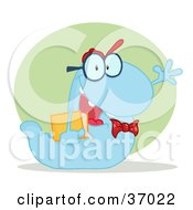 Clipart Illustration Of A Friendly Blue School Worm Student Waving And Carrying A Book With A Green Circle And Shadow by Hit Toon