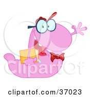 Clipart Illustration Of A Waving Purple Worm Student Carrying A Book