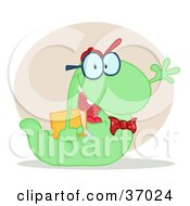 Clipart Illustration Of A Friendly Green School Worm Student Waving And Carrying A Book With A Beige Circle And Shadow by Hit Toon