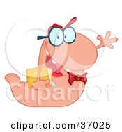 Clipart Illustration Of A Waving Pink Worm Student Carrying A Book by Hit Toon