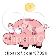 Clipart Illustration Of A Jolly Pink Piggy Bank Watching A Coin Fall Into The Slot