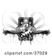 Clipart Illustration Of A Grungy Speaker Over A Black Dripping Grunge Bar With Circles On A Bursting Gray And White Background by Alexia Lougiaki