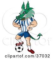 Dragon Mascot In Uniform Standing With His Hands On His Hips And One Foot On A Soccer Ball