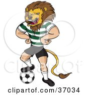 Lion Mascot In Uniform Standing With His Hands On His Hips And One Foot On A Soccer Ball