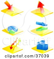 Clipart Illustration Of Six Colorful Financial Icons Of Arrows Charts And Graphs by elaineitalia