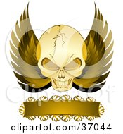 Clipart Illustration Of A Cracked Evil Skull With Golden Wings And A Blank Banner On A White Background