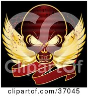 Clipart Illustration Of A Red Skull With Golden Wings And A Blank Red Banner On A Black Background With Blood Splatters