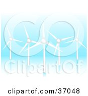 Five Wind Turbines Spinning And Generating Energy On A Blue Reflective Background