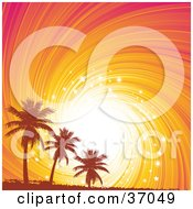 Clipart Illustration Of Orange Silhouetted Grungy Palm Trees Against A Sparkling Orange And Pink Swirly Sunset