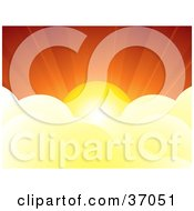 Clipart Illustration Of A Burst Of Sunshine Above Fluffy White Clouds In A Red Sunset Sky