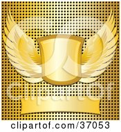Clipart Illustration Of A Blank Banner With A Winged Shield Over A Gold Metal Grid Background