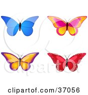Clipart Illustration Of Four Colorful Butterflies One Red And Sparkly by elaineitalia
