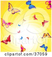 Clipart Illustration Of Colorful Butterflies Flying Down A Swirling Yellow Vortex With Bright Light
