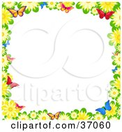 Clipart Illustration Of A Border Of Yellow Daisies And Colorful Butterflies Over White