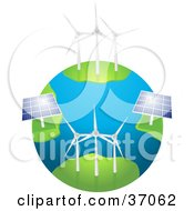 Wind Farm Turbines And Solar Panels Generating Energy On Planet Earth On A White Background
