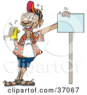 Clipart Illustration Of A Drunk Man Holding A Can Of Beer And Leaning Against A Blank Sign