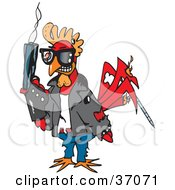 Clipart Illustration Of A Terminator Rooster Holding A Smoking Gun by Dennis Holmes Designs