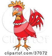 Clipart Illustration Of A Friendly Red Rooster by Dennis Holmes Designs