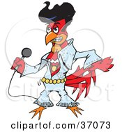Clipart Illustration Of A Red Rooster Elvis Impersonator Dancing And Singing by Dennis Holmes Designs
